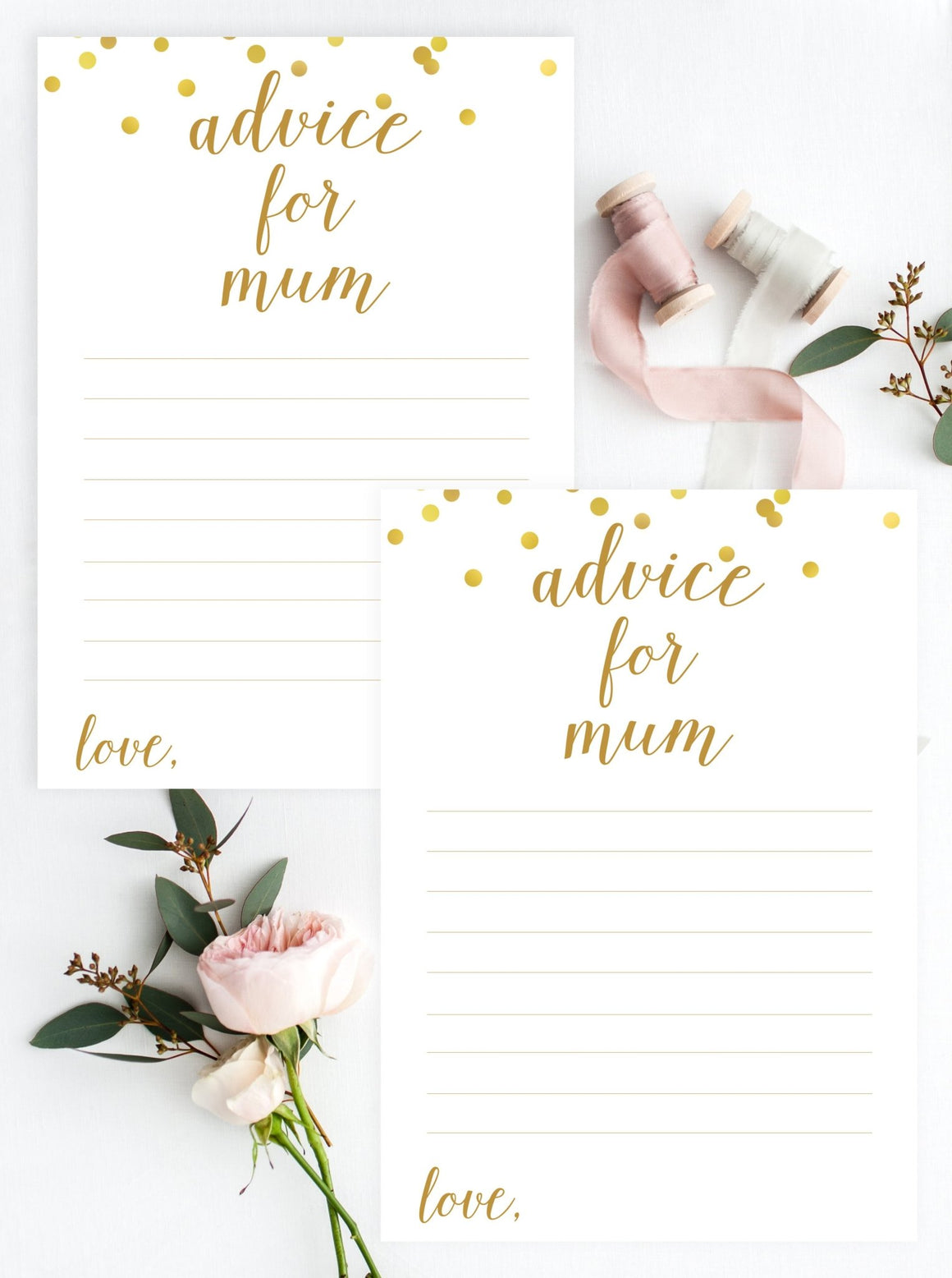 Advice for Mum - Gold Confetti Printable - Pretty Collected