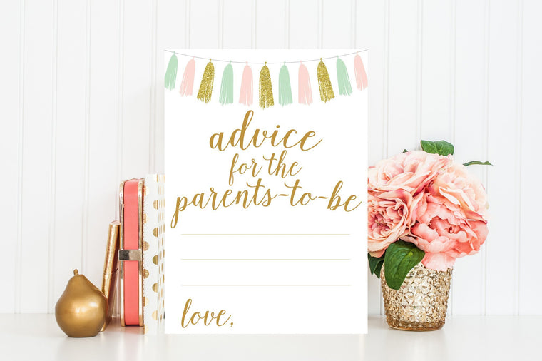 Advice for Parents-To-Be - Pink, Mint & Gold Tassel Printable - Pretty Collected