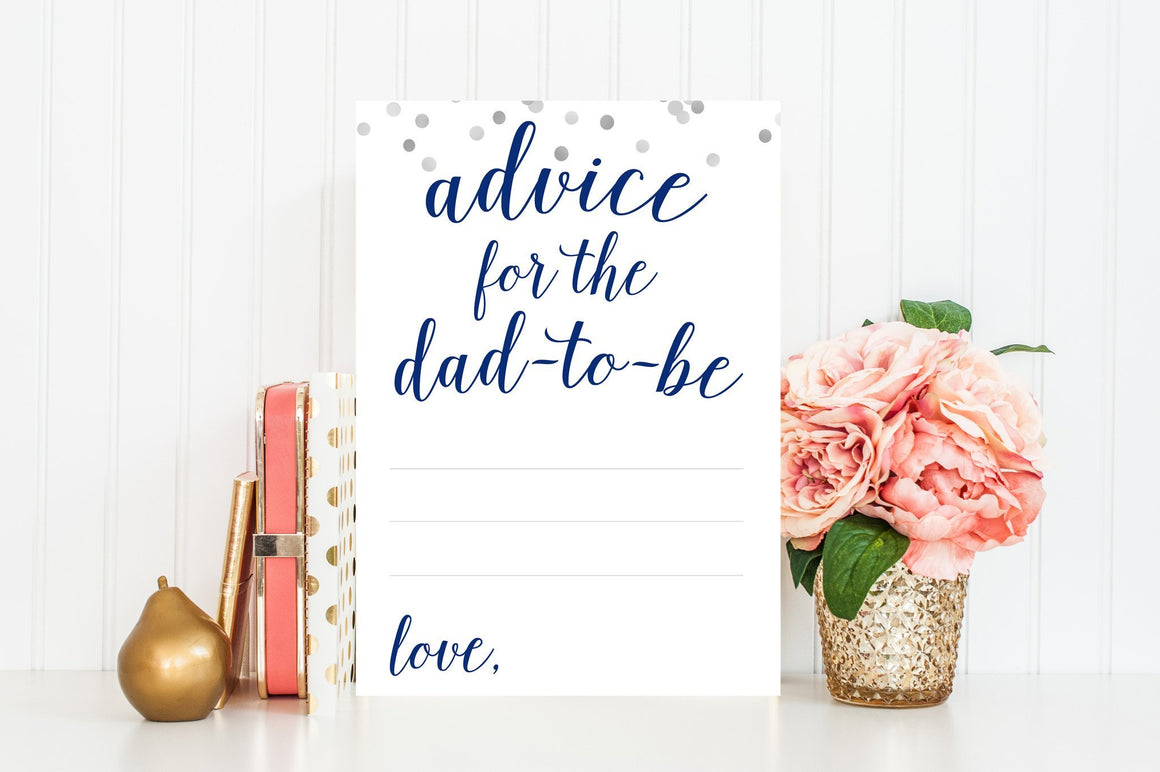 Advice for Dad-To-Be - Navy & Grey Confetti Printable - Pretty Collected