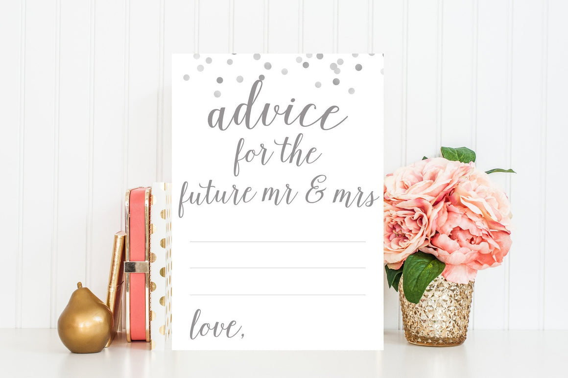 Advice for Future Mr & Mrs - Grey Printable - Pretty Collected