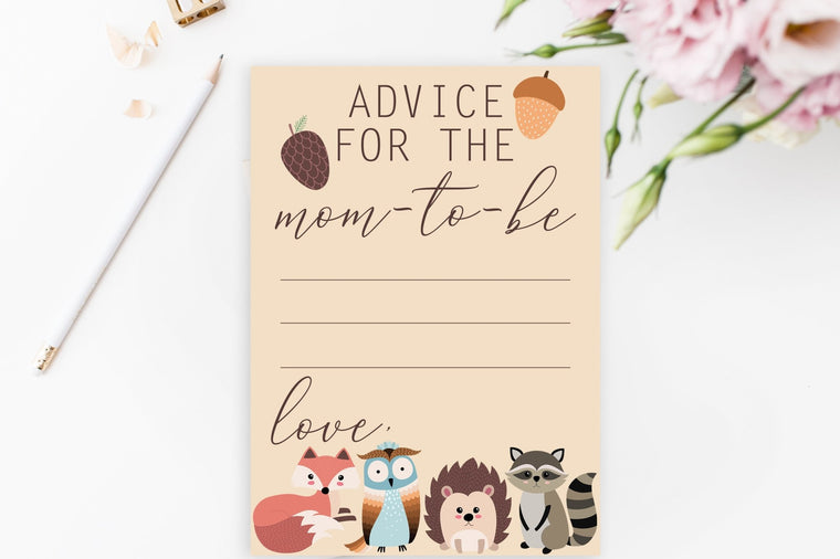 Advice for Mom-To-Be - Woodland Printable - Pretty Collected