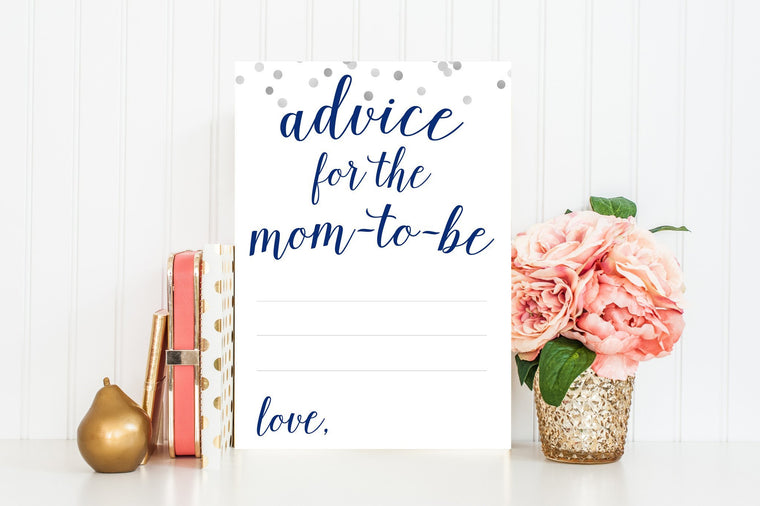 Advice for Mom-To-Be - Navy & Grey Confetti Printable - Pretty Collected