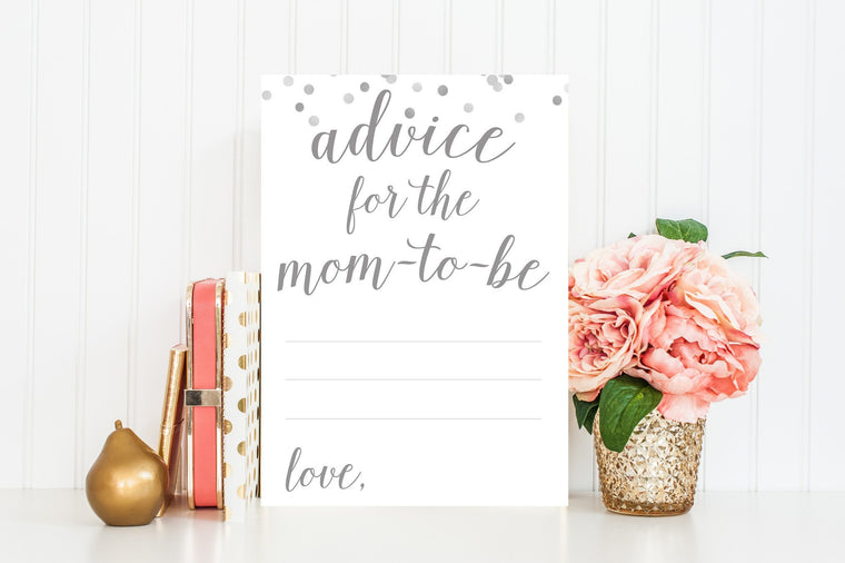 Advice for Mom-To-Be - Grey Confetti Printable - Pretty Collected