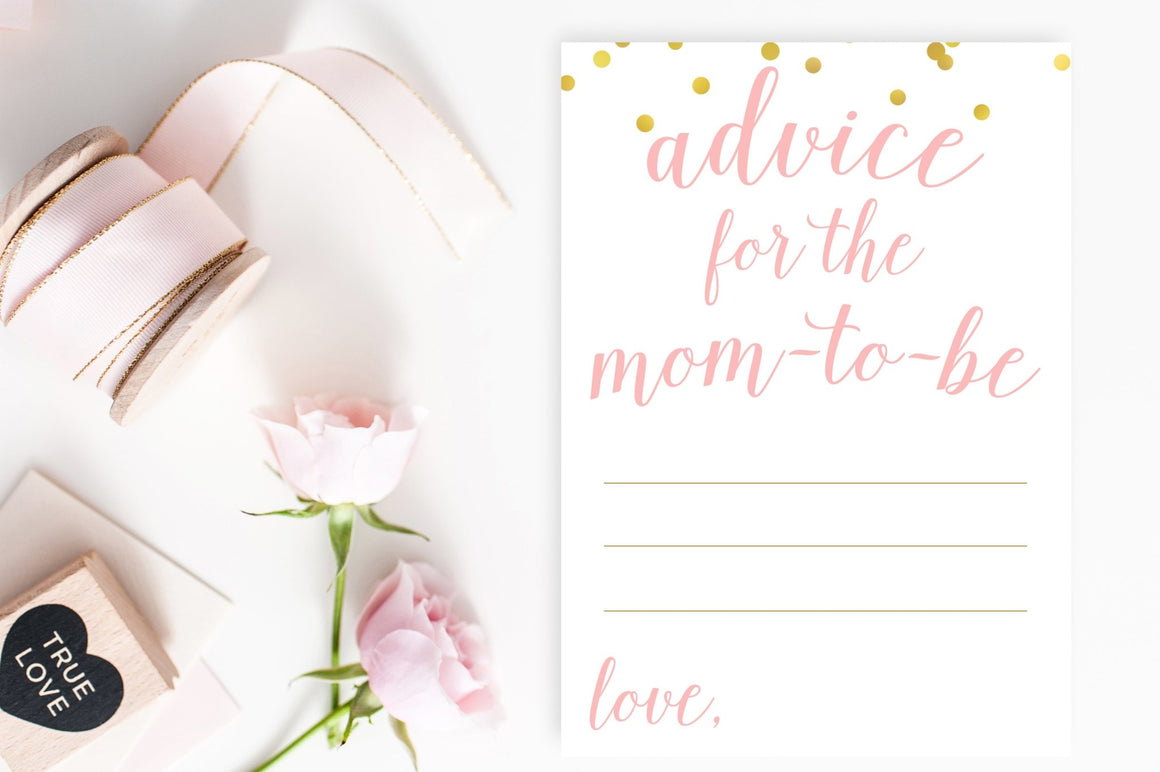 Advice for Mom-To-Be - Pink & Gold Confetti Printable - Pretty Collected