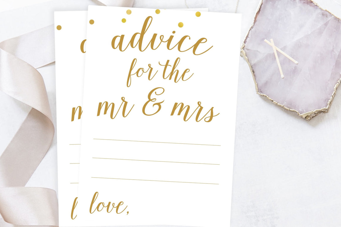 Advice for the Mr & Mrs - Gold Confetti Printable - Pretty Collected
