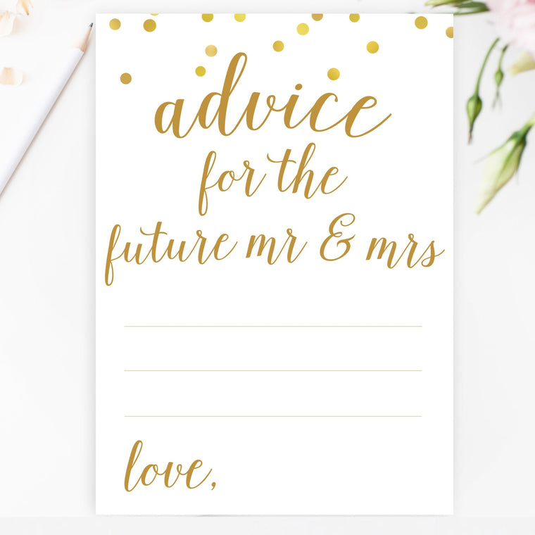 Advice for the Future Mr & Mrs - Gold Confetti Printable - Pretty Collected