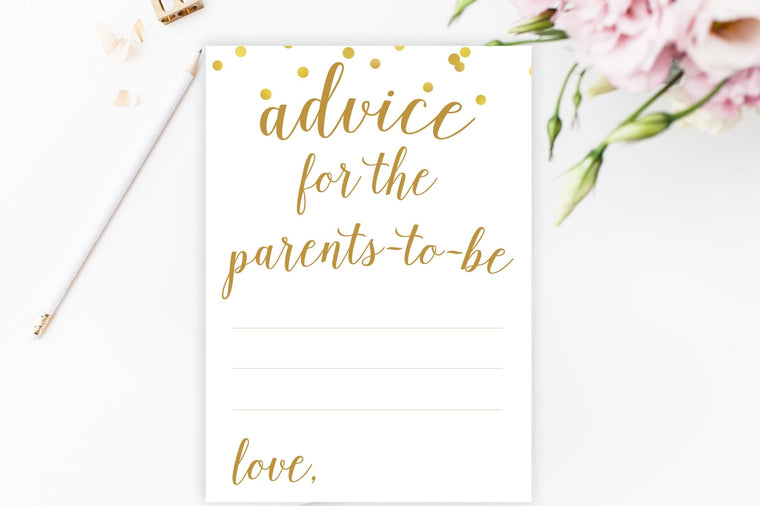 Advice for Parents-To-Be - Gold Confetti Printable - Pretty Collected