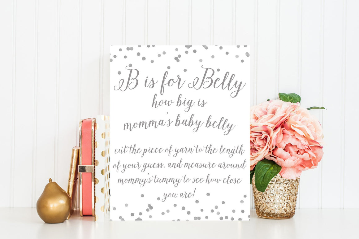 B is for Belly Sign - Grey Confetti Printable - Pretty Collected