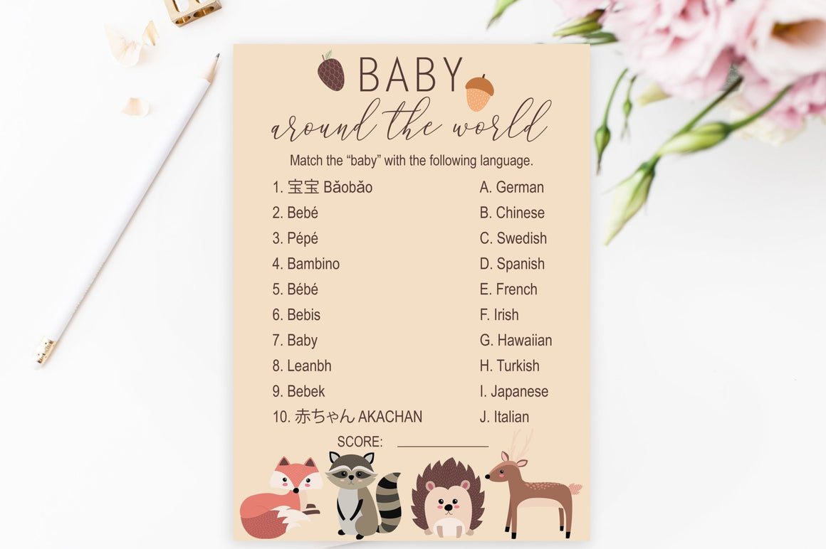 Baby Around the World - Woodland Printable - Pretty Collected