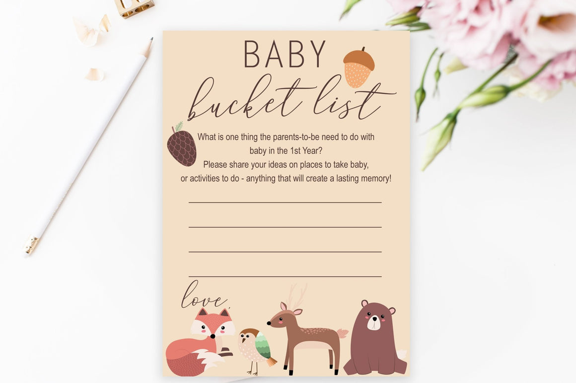 Baby Bucket List - Woodland Printable - Pretty Collected
