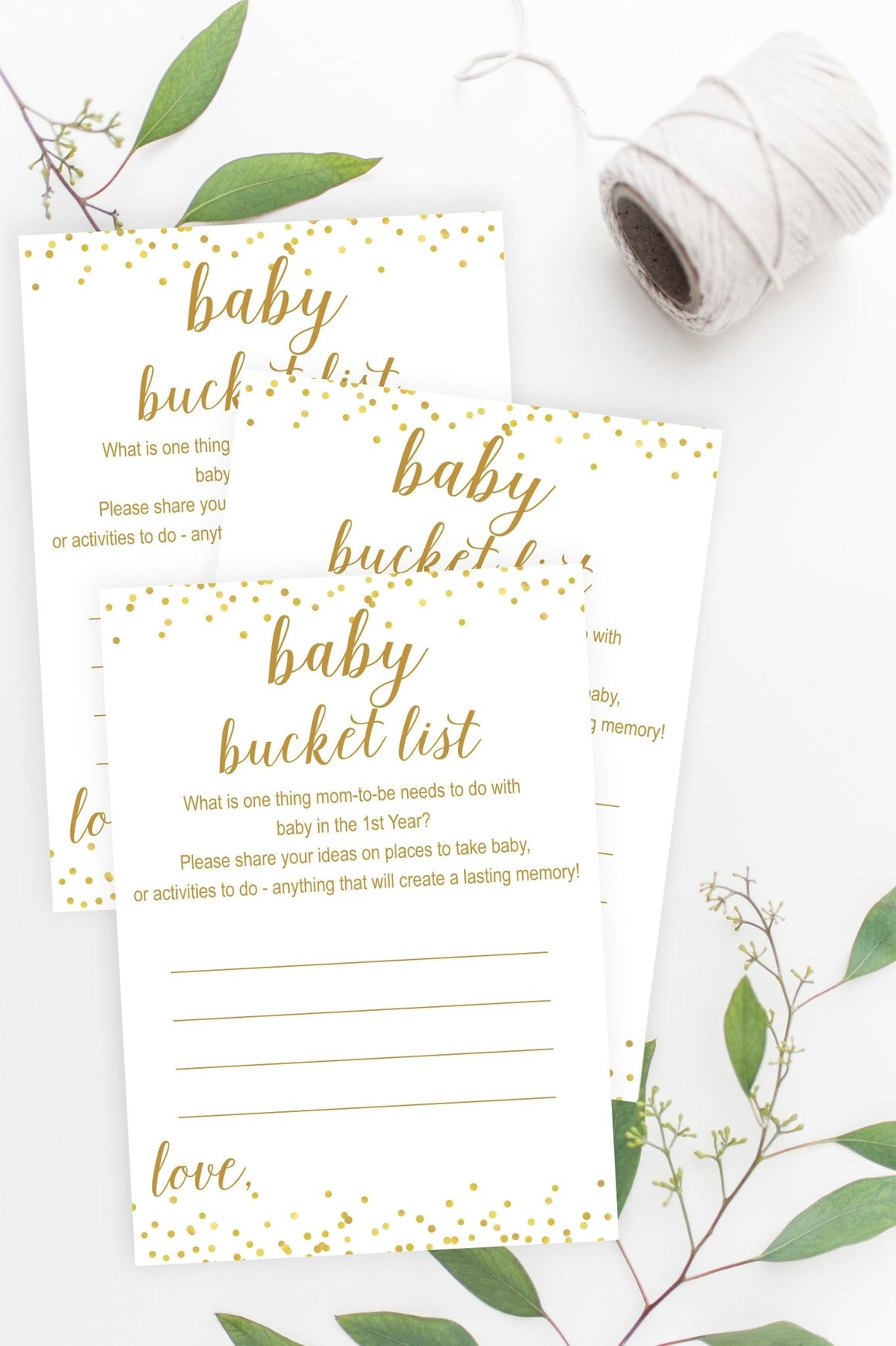 Baby Bucket List - Gold Confetti Printable - Pretty Collected
