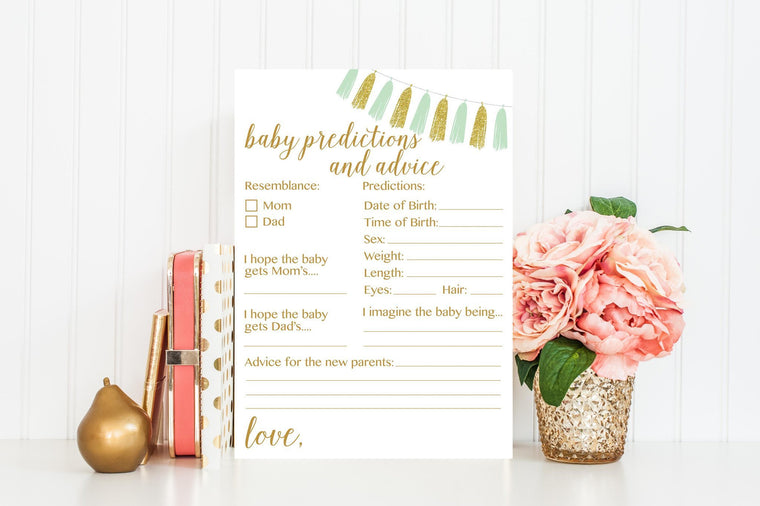 Baby Predictions and Advice - Mint & Gold Tassel Printable - Pretty Collected