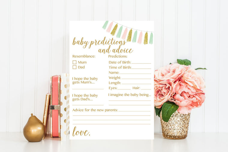 Baby Predictions and Advice (Mum Version) - Pink, Mint & Gold Tassel Printable - Pretty Collected