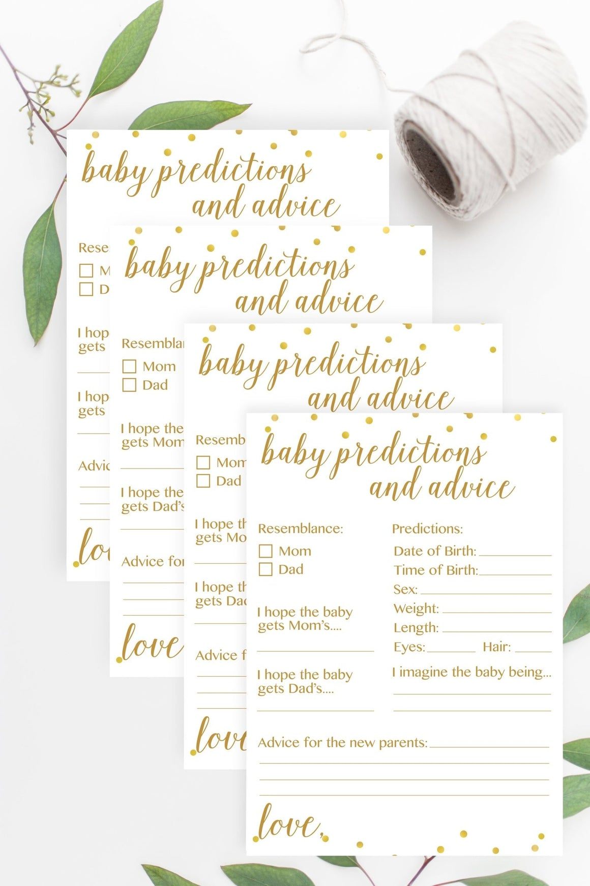 Baby Predictions and Advice (with Sex) - Gold Confetti Printable - Pretty Collected