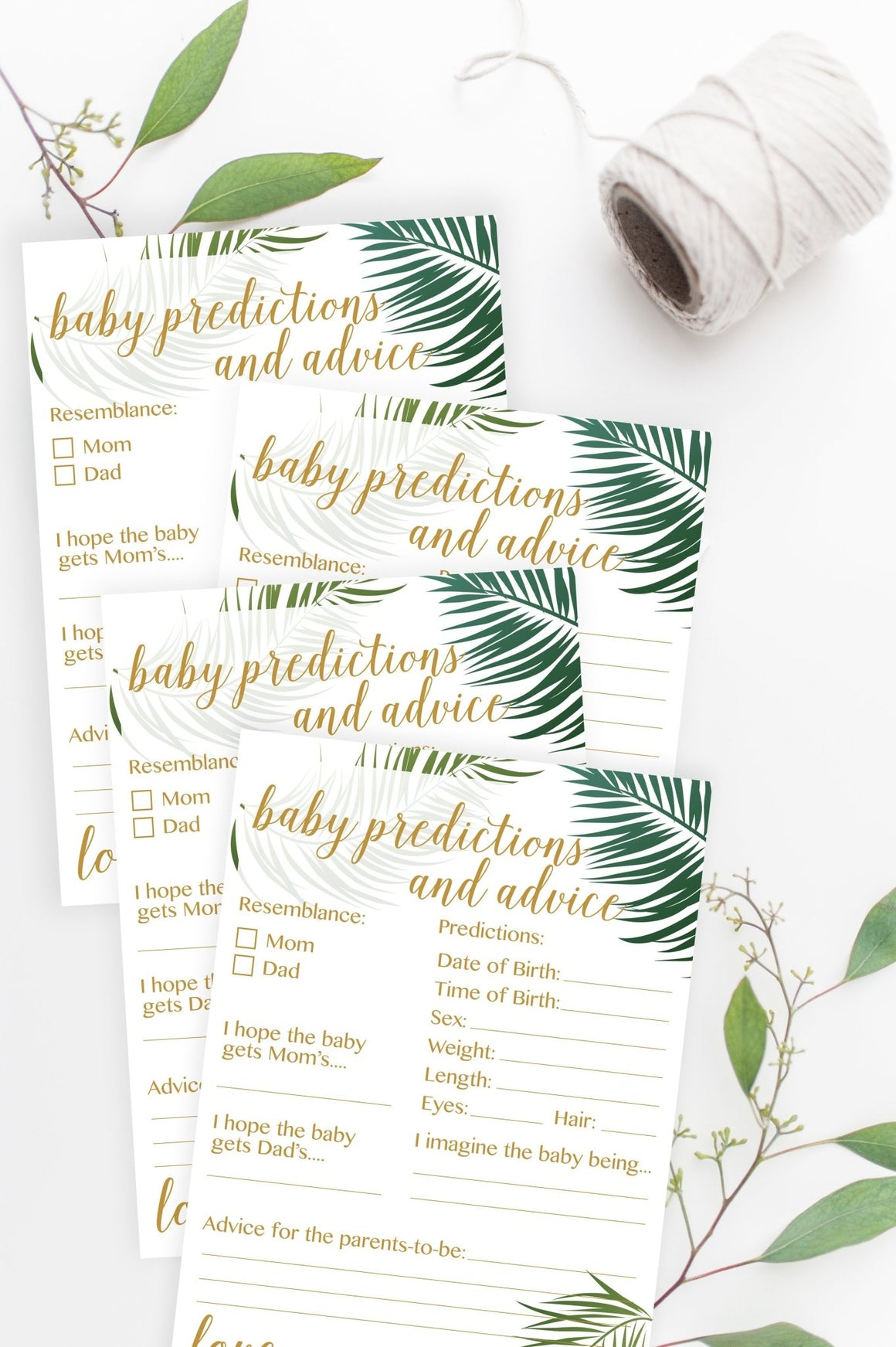Baby Predictions and Advice (with gender prediction) - Tropical Printable - Pretty Collected