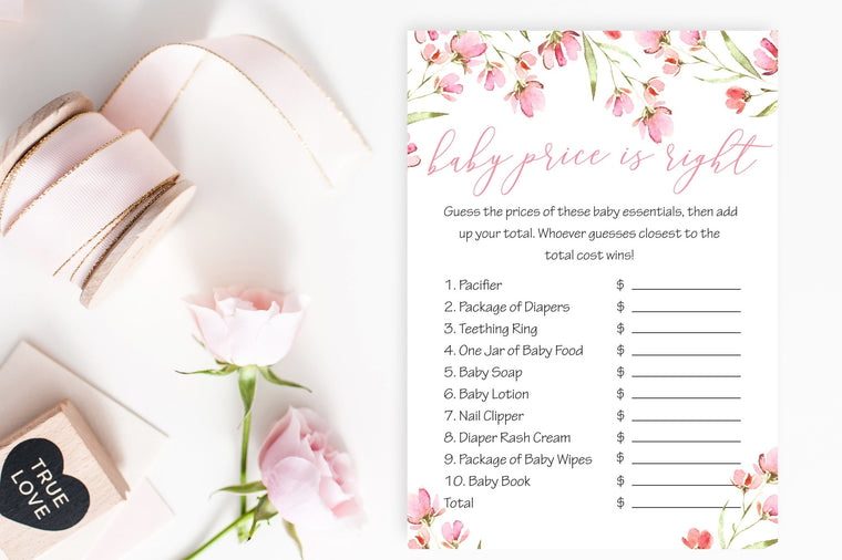 Baby Price Is Right - Spring Floral Printable - Pretty Collected