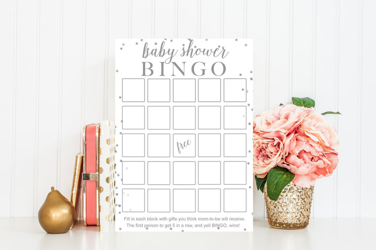 Baby Shower Bingo - Grey Confetti Printable - Pretty Collected