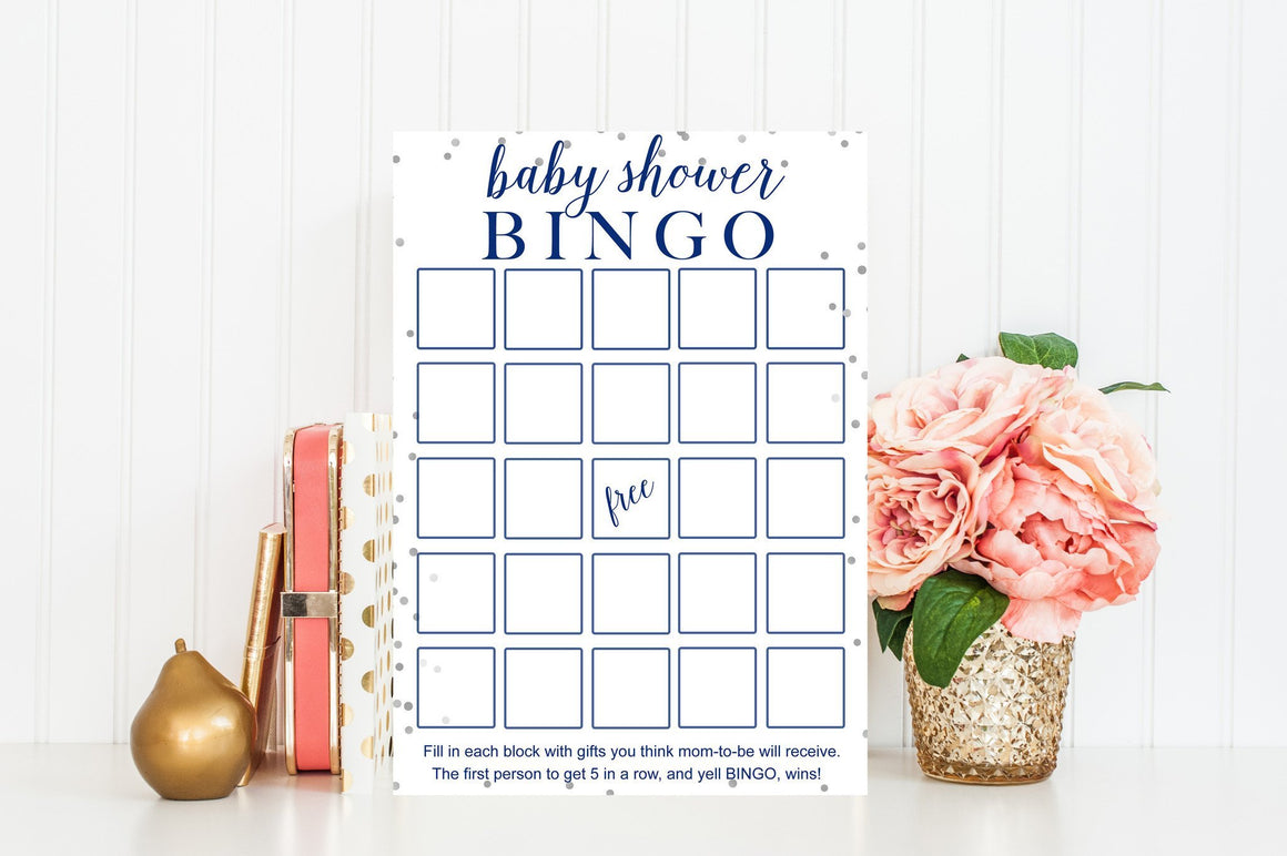 Baby Shower Bingo - Navy & Grey Confetti Printable - Pretty Collected