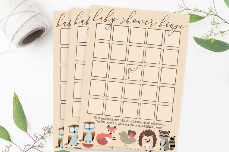 Baby Shower Bingo - Woodland Printable - Pretty Collected