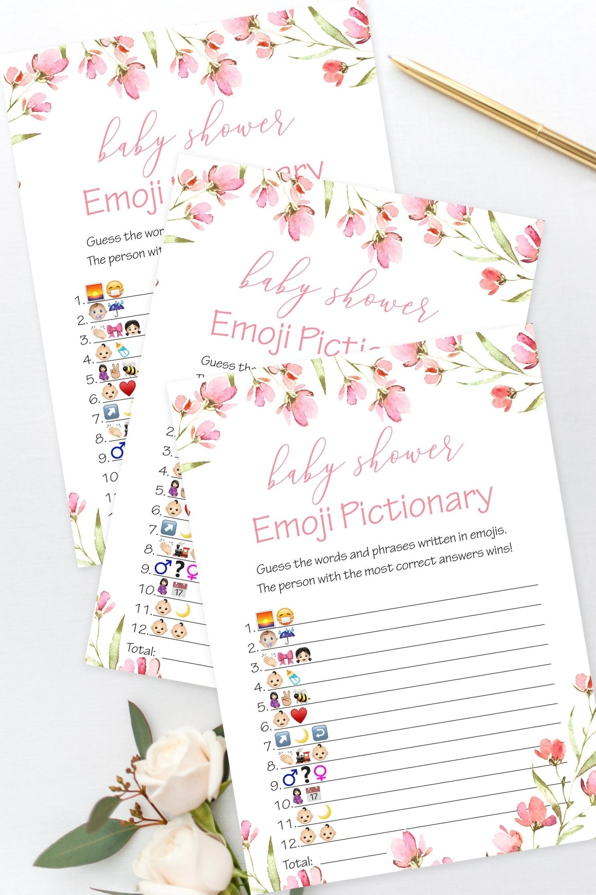 Baby Shower Emoji Pictionary - Spring Floral Printable - Pretty Collected