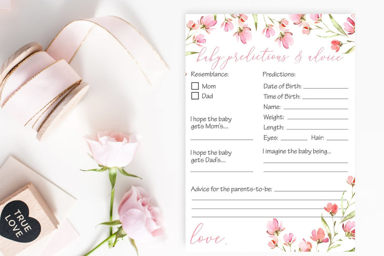 Baby Predictions and Advice - Spring Floral Printable - Pretty Collected