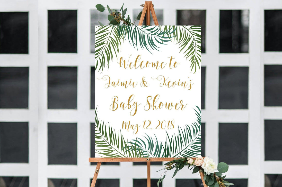 Couples Baby Shower Welcome Sign - Tropical Printable - Pretty Collected