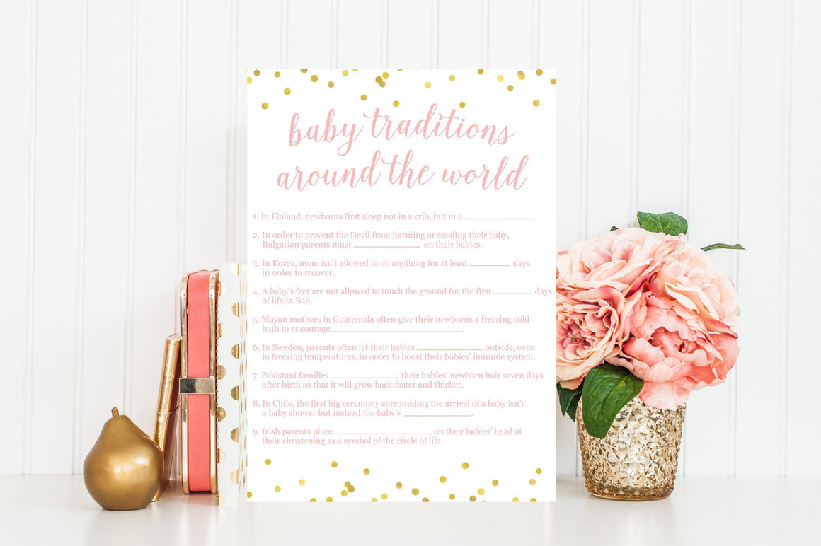 Baby Traditions Around the World - Pink & Gold Confetti Printable - Pretty Collected