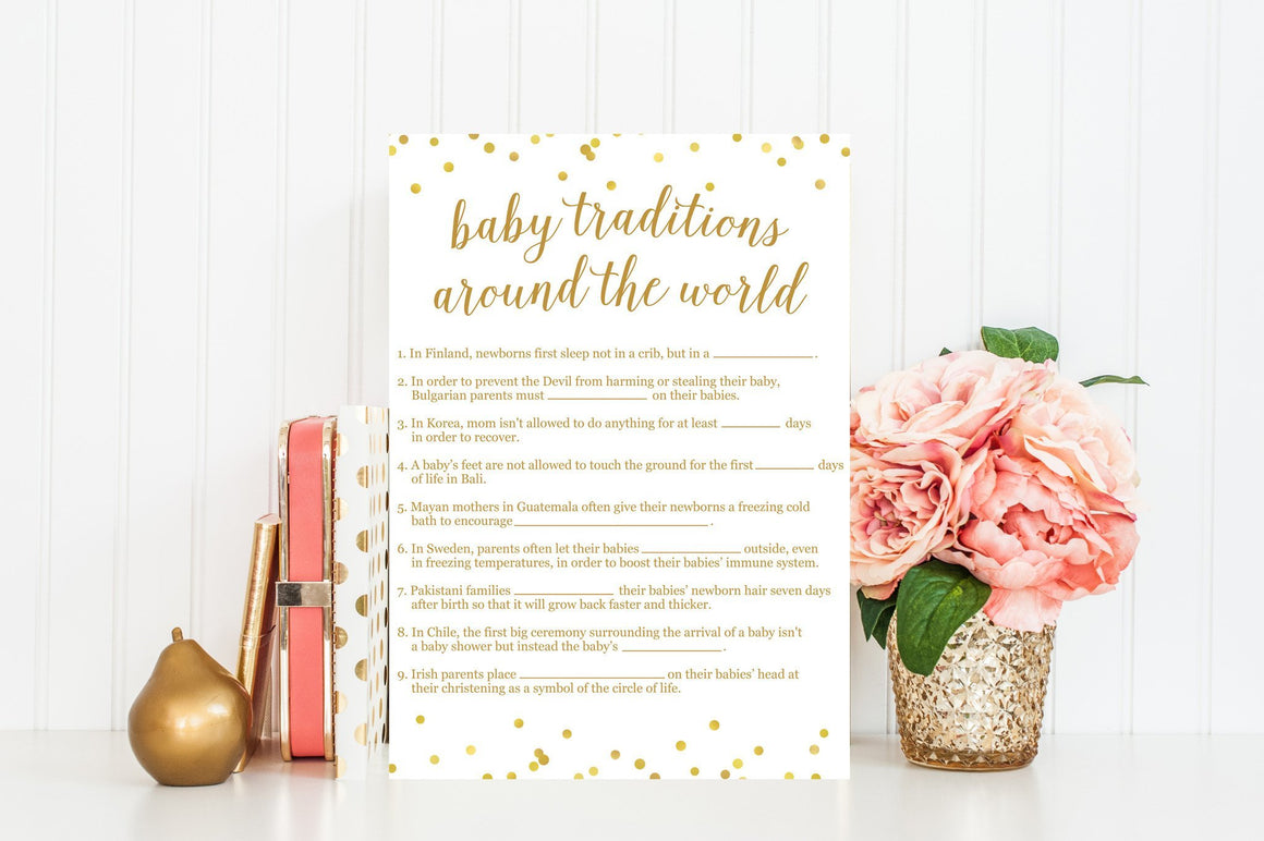 Baby Traditions Around the World - Gold Confetti Printable - Pretty Collected