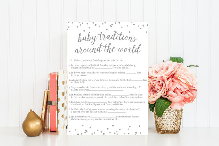 Baby Traditions Around the World - Grey Confetti Printable - Pretty Collected