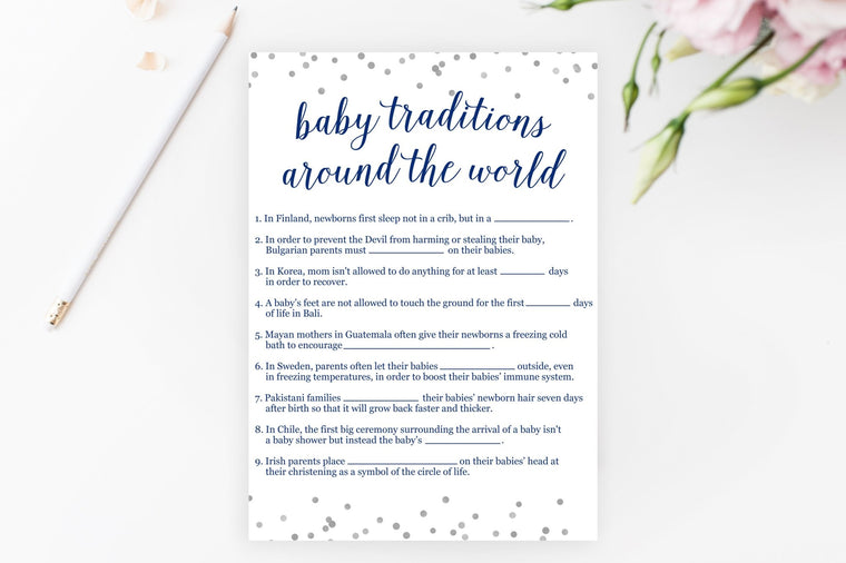 Baby Traditions Around the World - Navy & Grey Confetti Printable - Pretty Collected