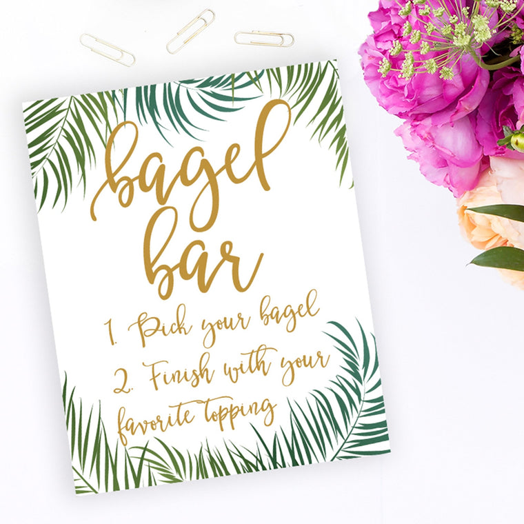 Bagel Bar Sign - Tropical Printable - Pretty Collected