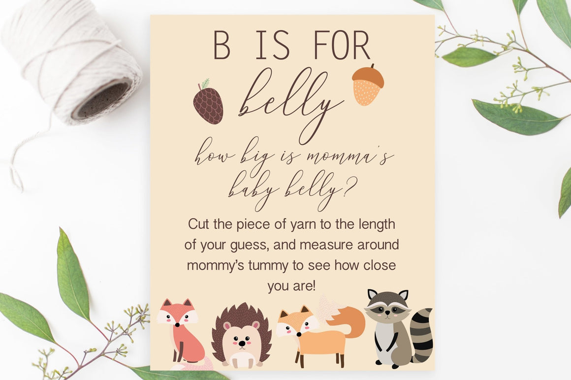 B is for Belly Sign - Woodland Printable - Pretty Collected