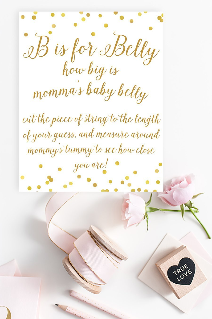 B Is For Belly Sign Gold Confetti Printable Pretty Collected