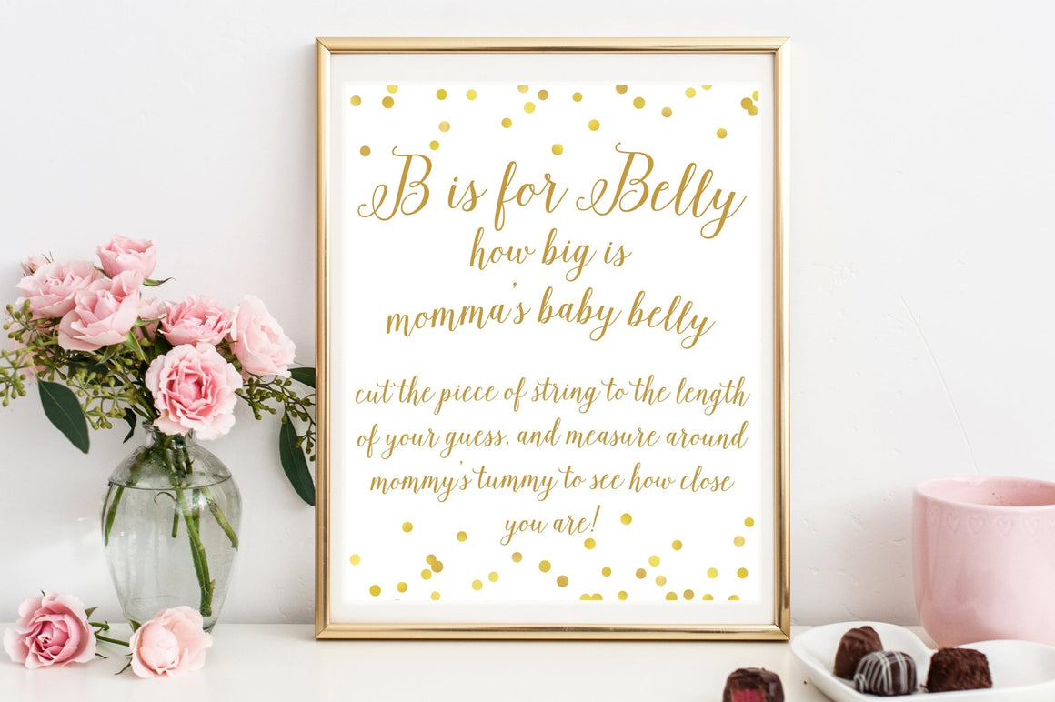 B is for Belly Sign - Gold Confetti Printable - Pretty Collected
