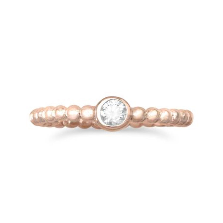 Bianca Rose Gold Beaded Ring - Pretty Collected