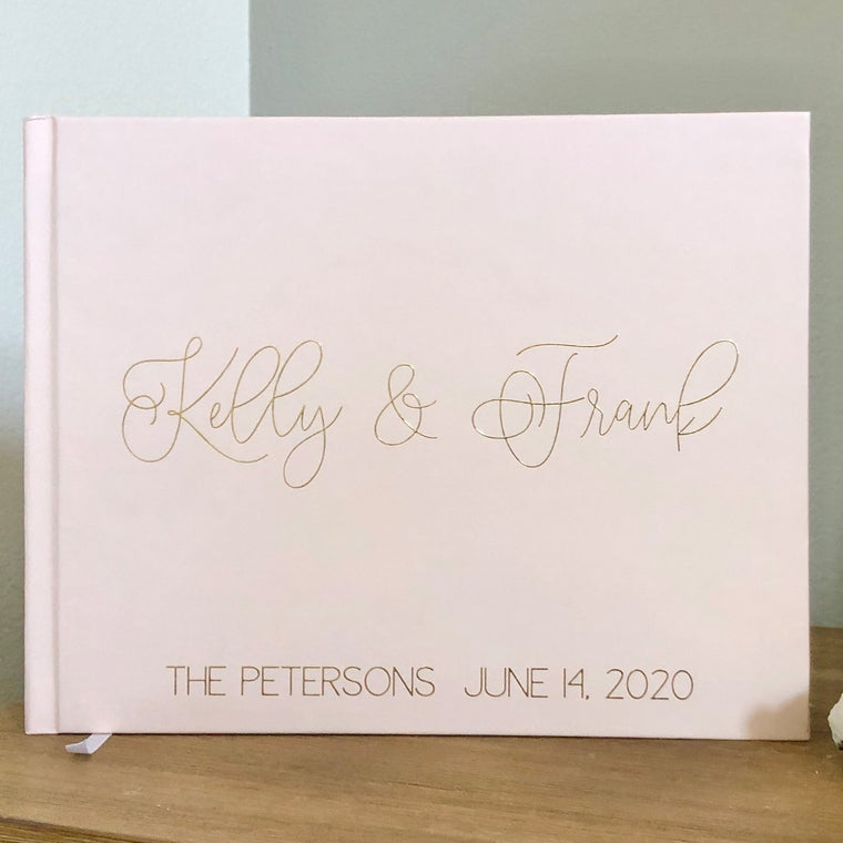 Blush Pink & Gold Foil Wedding Guest Book - The Kelly - Pretty Collected