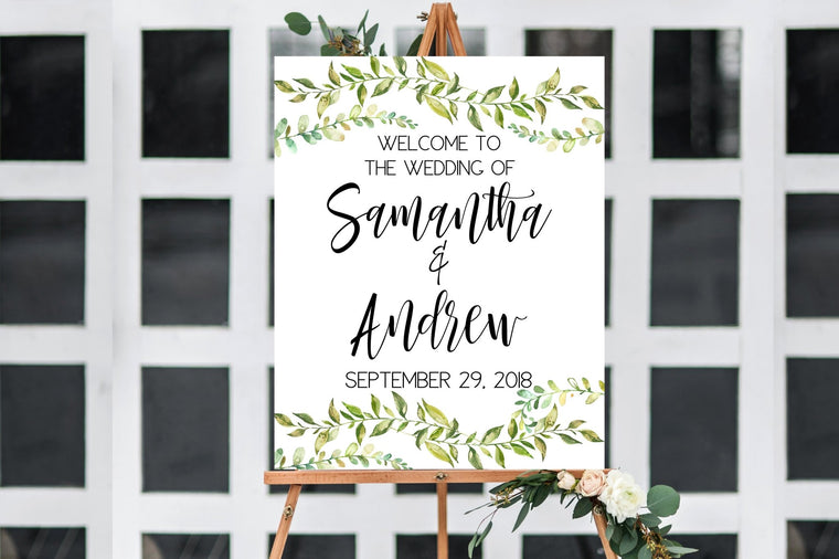 Wedding Welcome Sign - Greenery Printable - Pretty Collected