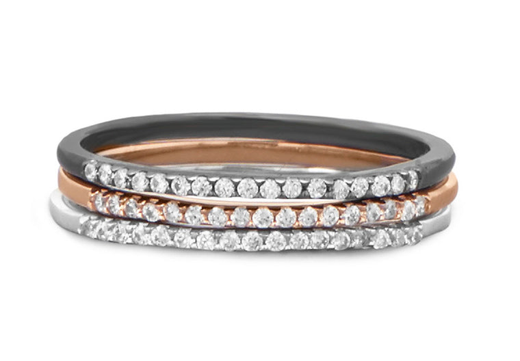 Brie Pave Stacking Rings