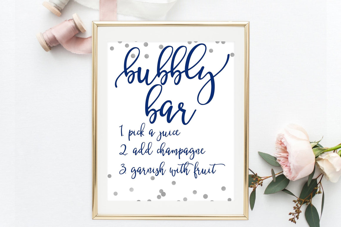 Bubbly Bar Sign - Navy & Grey Confetti Printable - Pretty Collected