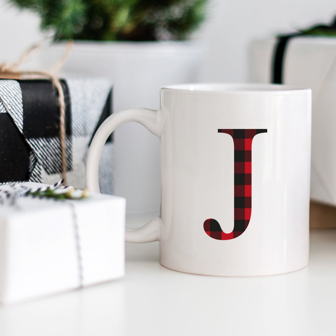 Buffalo Plaid Monogram Mug - Pretty Collected