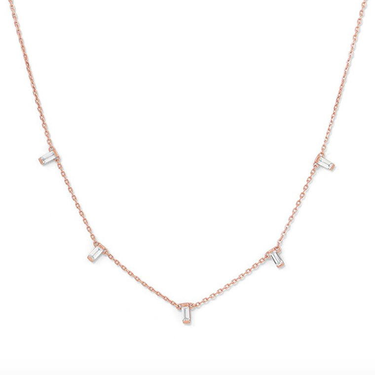 Cami Baguette Rose Gold Necklace - Pretty Collected