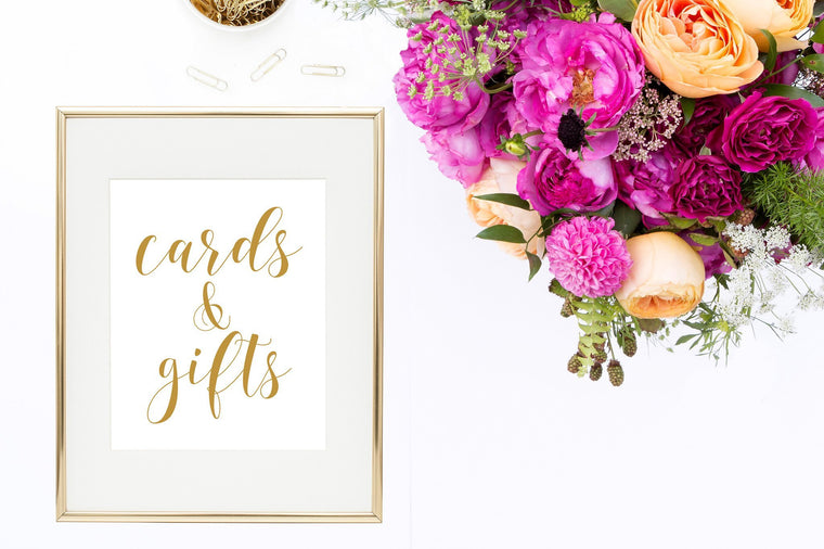 Cards & Gifts Sign - Gold Printable - Pretty Collected