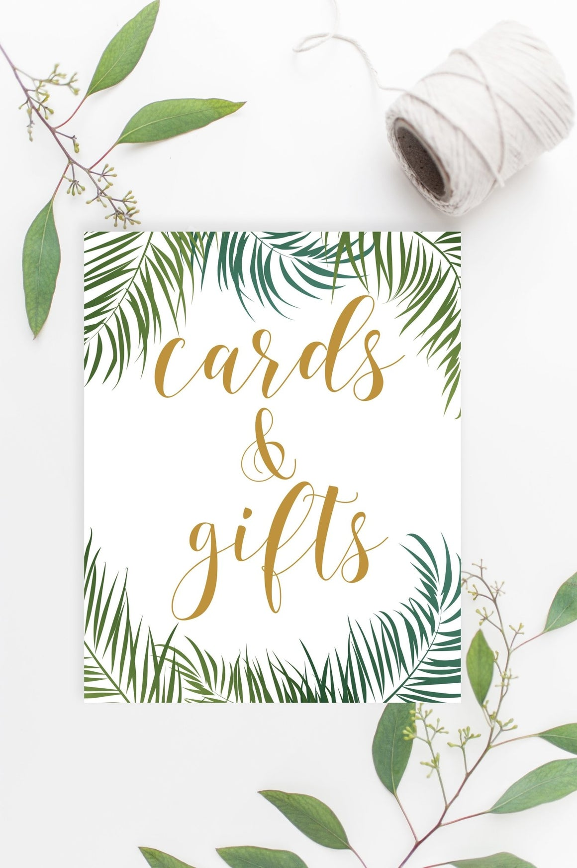 Cards & Gifts Sign - Tropical Printable - Pretty Collected