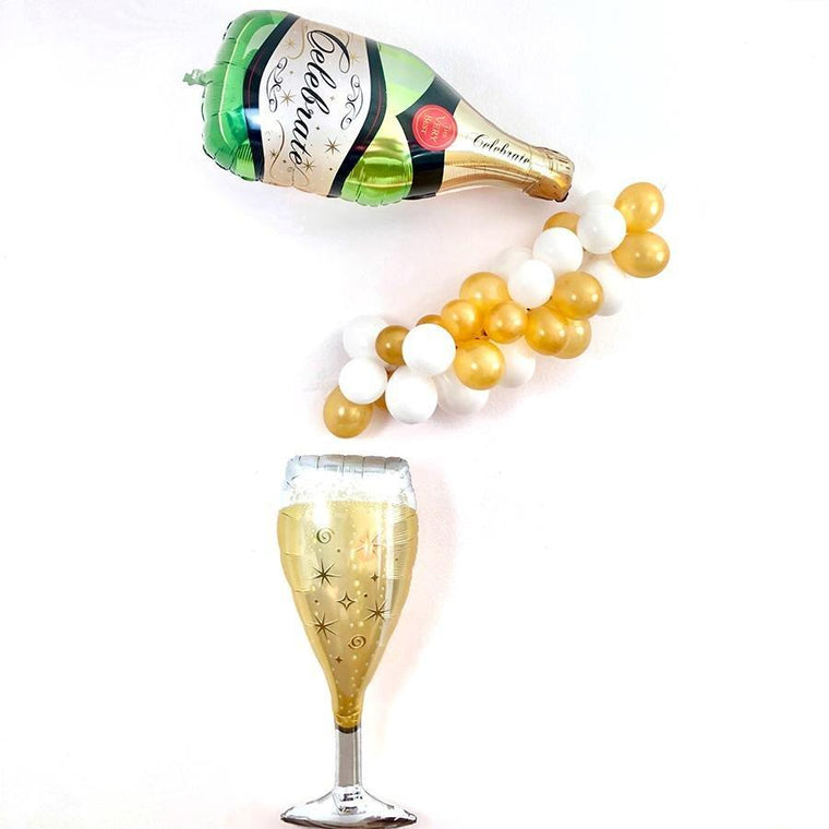 Champagne Bottle & Champagne Glass Balloon Kit - Pretty Collected
