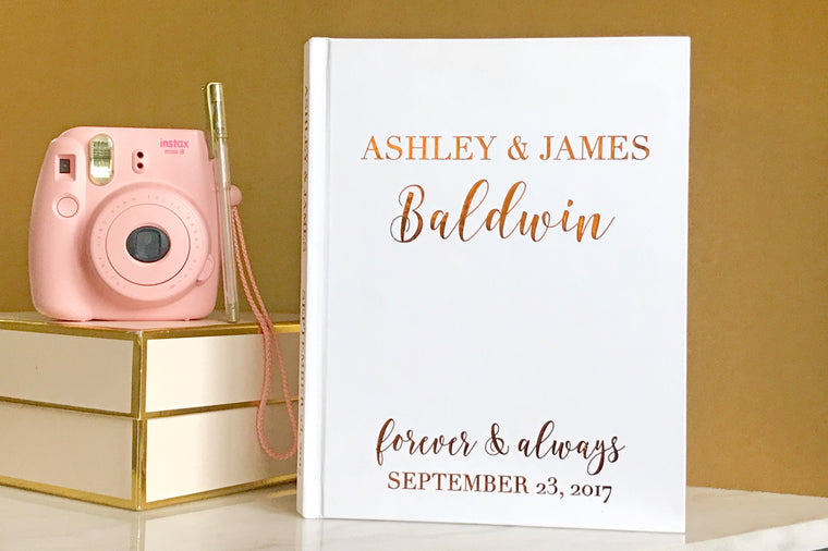 Copper Foil Wedding Guest Book - The Ashley