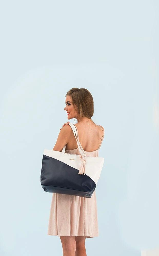 Monogram Faux Leather Tote - Navy & White - Pretty Collected