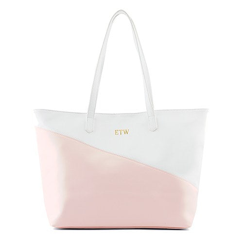 Monogram Faux Leather Tote - Pink & White