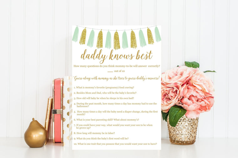 Daddy Knows Best (Boy) - Mint & Gold Tassel Printable - Pretty Collected