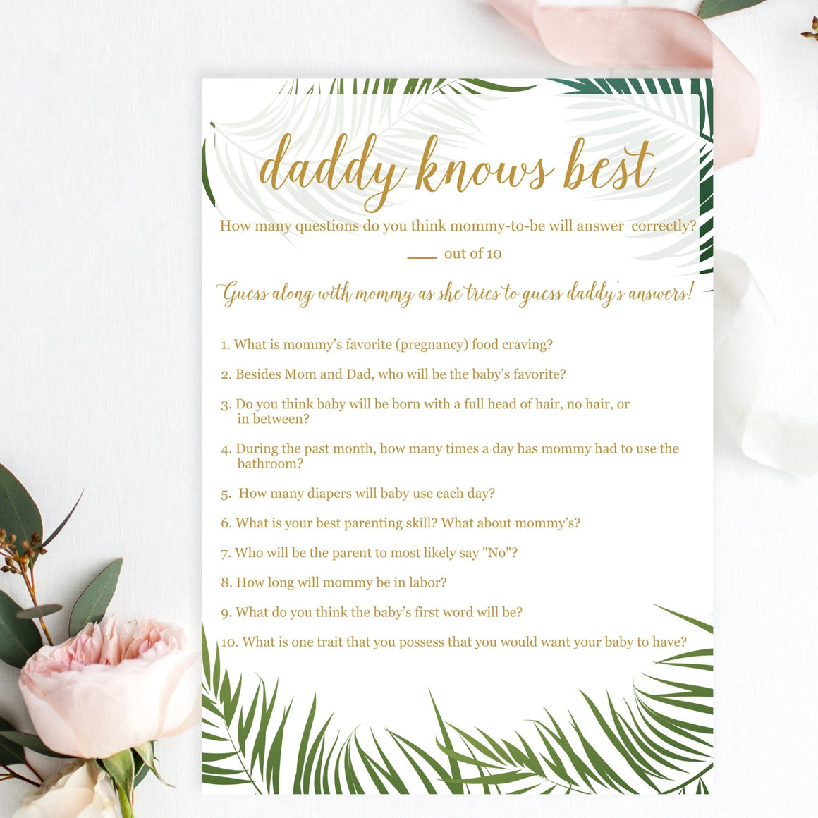 Daddy Knows Best (Gender Neutral) - Tropical Printable - Pretty Collected