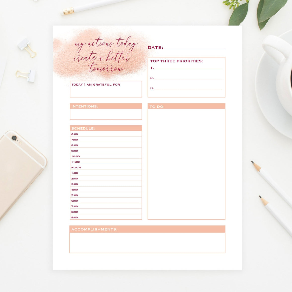 Rose Gold Daily Planner Printable - Pretty Collected